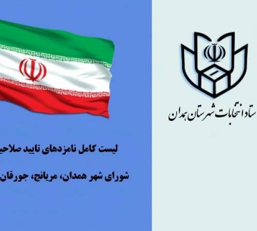 لیست  نامزدهای تایید صلاحیت شده شورای شهر همدان، مریانج، جورقان و قهاوند